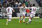 10.03.2019, Prezero-Arena, Sinsheim, GER, 1 FBL, TSG 1899 Hoffenheim vs 1. FC Nuernberg, <br /> <br /> DFL REGULATIONS PROHIBIT ANY USE OF PHOTOGRAPHS AS IMAGE SEQUENCES AND/OR QUASI-VIDEO.<br /> <br /> im Bild: Hanno Behrens (#18, 1. FC Nuernberg) jubelt ueber sein Tor zum 1:1, mit dabei Mikael Ishak (#9, 1. FC Nuernberg), Yuya Kubo (#14, 1. FC Nuernberg), Timothy Tillman (1. FC Nuernberg #37)<br /> <br /> Foto &copy; nordphoto / Fabisch