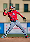 29 February 2020: Washington Nationals top prospect infielder Luis Garcia makes a play to get the first out in the bottom of the 7th inning during a Spring Training game against the St. Louis Cardinals at Roger Dean Stadium in Jupiter, Florida. The Cardinals defeated the Nationals 6-3 in Grapefruit League play. Mandatory Credit: Ed Wolfstein Photo *** RAW (NEF) Image File Available ***