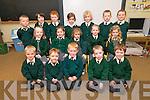 Junior Infant pupils from Scoil Naomh Eoin Baiste, Lios Pól, on their first day at school on Friday morning. Back left: Padraig Ó Mainín, Paddy ÓDuibhginn, Jamie ÓLoingsigh, Ríona Ní Ghealbhain, Ciara Ní Ghealbhain, Liam Mac an tSíthigh, Domhnall Ó Baróid. Middle left: Mairéad Ní Dhubhaigh, Aisling Nic Phiarais, Shauna Ní Shúilleabhain, Ella Ní Dheargain, Líle Ní Ghairbhí..Front left: Tiarnan ÓLoingsigh, Rónan ÓCathail, Leo ÓLoingsigh, Míchéal Ó Grífín, Jack McGrattan - Diver.