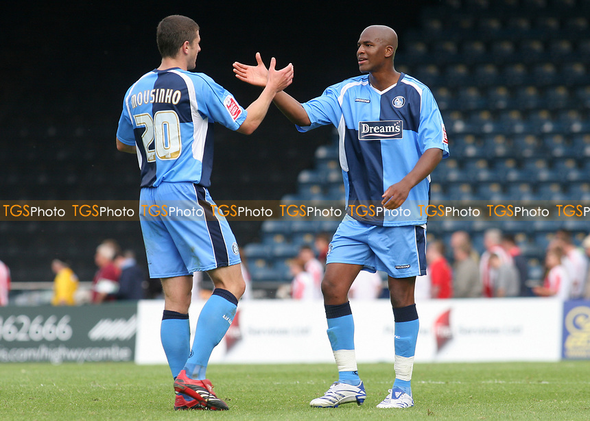 Wycombe's John Mousinho and Leon Johnson celebrate their victory at the final whistle during Wycombe Wanderers vs Lincoln City, Coca Cola League Division Two Football at Adams Park on 23rd August 2008