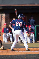 Austin Allison (26) of the Shippensburg Raiders at bat against the Belmont Abbey Crusaders at Abbey Yard on February 8, 2015 in Belmont, North Carolina.  The Raiders defeated the Crusaders 14-0.  (Brian Westerholt/Four Seam Images)