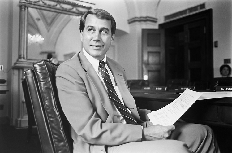 Rep. John Andrew Boehner, R-Ohio., House of Representatives Member, sitting in a chair. May 1993 (Photo by Laura Patterson/CQ Roll Call)