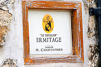 A sign at the entrance with thext  In the vineyard Le Pavillon of M Chapoutier on the Hermitage hill, sandy and pebbly soil. Ermitage  Domaine M Chapoutier, Tain l'Hermitage, Drome Drôme, France Europe
