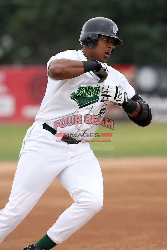 September 6 2008:  Ernie Banks of the Jamestown Jammers, Class-A affiliate of the Florida Marlins, during a game at Russell Diethrick Park in Jamestown, NY.  Photo by:  Mike Janes/Four Seam Images