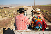 USA, Nevada, Wells, guests can participate in Horse-Drawn Wagon Rides during their stay at Mustang Monument, A sustainable luxury eco friendly resort and preserve for wild horses, Saving America's Mustangs Foundation