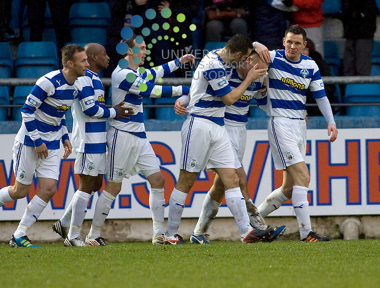 morton players celebrate goal  during the Greenock Morton V Raith Rovers  Irn Bru Scottish First Division Match 2012-2013 at Cappielow Park, Greenock  .Picture: Campbell Skinner/Universal News And Sport (Scotland) 26th January 2013..