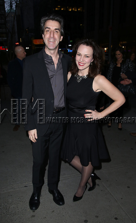 Jason Robert Brown and Georgia Stitt attends 'The Robber Bridegroom' Off-Broadway Opening Night performance at Laura Pels Theatre on March 13, 2016 in New York City.