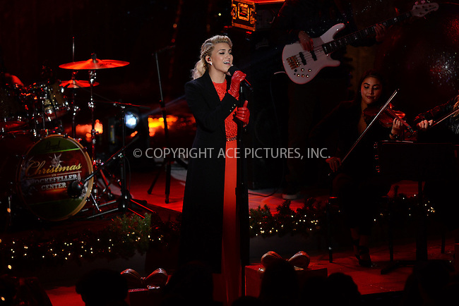 www.acepixs.com<br /> November 30, 2016  New York City<br /> <br /> Tori Kelly performing at The Rockefeller Center Christmas Tree lighting ceremony on November 30, 2016 in New York City.<br /> <br /> <br /> Credit: Kristin Callahan/ACE Pictures<br /> <br /> <br /> Tel: 646 769 0430<br /> Email: info@acepixs.com