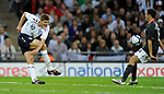 Steven Gerrard of England has a shot on goal during the Friendly International match at Wembley Stadium, London. Picture date 28th May 2008. Picture credit should read: Simon Bellis/Sportimage