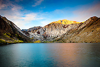 A vivid morning light on Convict Lake at sunrise