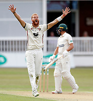 Ivan Thomas appeals for Kent during the County Championship Division 2 game between Kent and Leicestershire at the St Lawrence ground, Canterbury, on Sun July 22, 2018