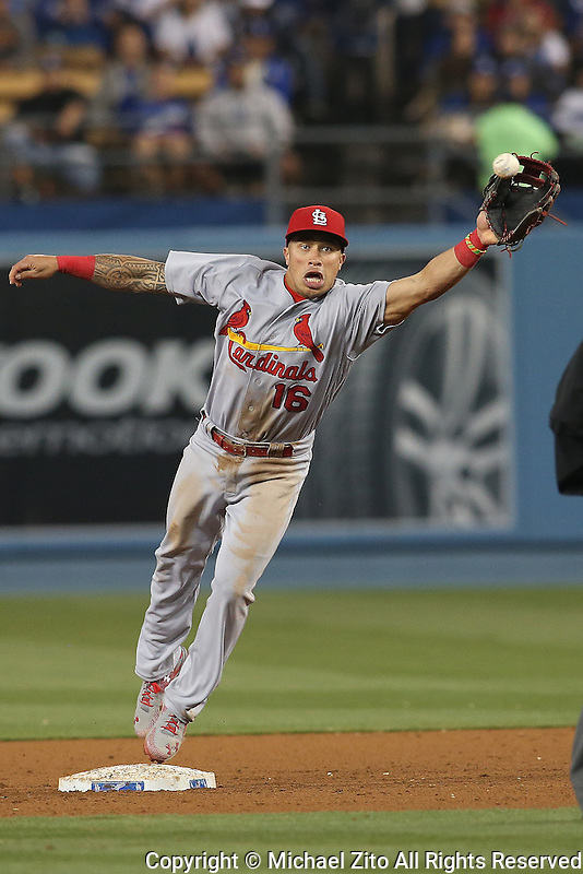 05/13/16 Los Angeles, CA: St. Louis Cardinals second baseman Kolten Wong #16 during an MLB game between the Los Angeles Dodgers and the St Louis Cardinals played at Dodger Stadium