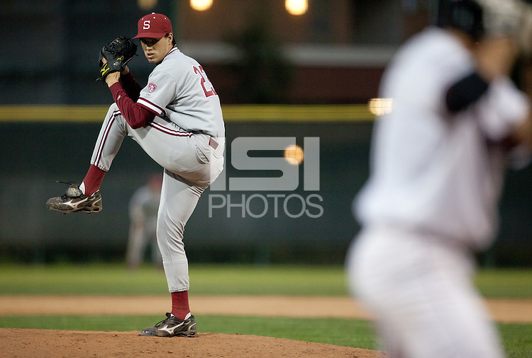 SANTA CLARA, CA - April 19, 2011: Brian Busick of Stanford baseball pitches in his first appearance of the year during Stanford's game against Santa Clara at Stephen Schott Stadium. Stanford won 10-3.