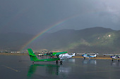 Rainbow after thunderstorm at Butte Airport