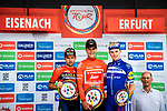 Final overall podium winner Jasper Stuyven (BEL) Trek-Segafredo, 2nd Sonny Colbrelli (ITA) Team Bahrain-Merida and 3rd Yves Lampaert (BEL) Deceuninck-Quick Step at the end of Stage 4 of the Deutschland Tour 2019, running 159.5km from Eisenach to Erfurt, Germany. 1st September 2019.<br /> Picture: ASO/Henning Angerer | Cyclefile<br /> All photos usage must carry mandatory copyright credit (© Cyclefile | ASO/Henning Angerer)