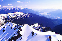 Aerial View of Brohm Ridge (Coast Mountains) near Brohm Lake Provincial Park, BC, British Columbia, Canada - Squamish and Howe Sound in distance