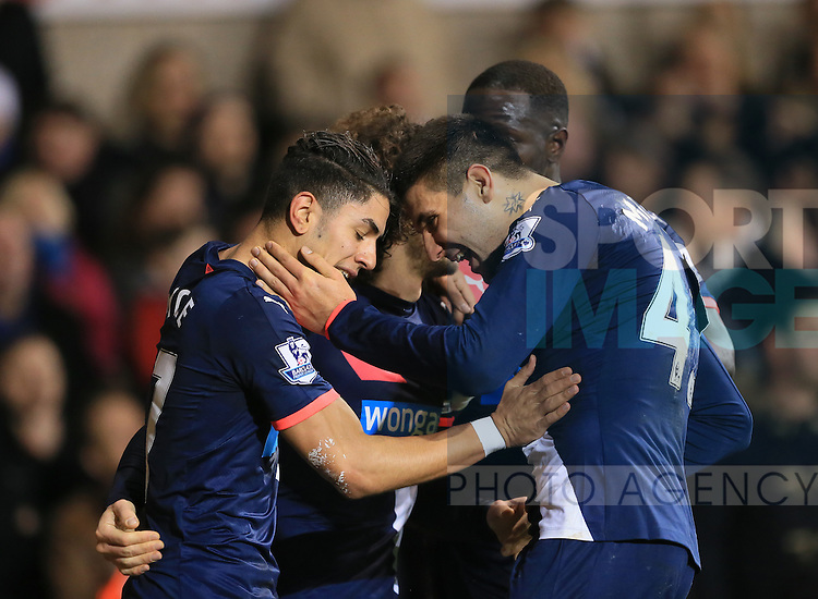 Newcastle's Ayoze Perez celebrates scoring his sides second goal with Aleksandar Mitrovic<br /> <br /> Barclays Premier League- Tottenham Hotspur vs Newcastle United - White Hart Lane - England - 13th December 2015 - Picture David Klein/Sportimage