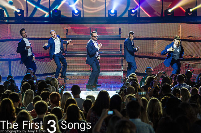 Nick Carter, AJ McLean, Brian Littrell, Howie Dorough, and Kevin Richardson of the Backstreet Boys performs at Riverbend Music Center in Cincinnati, Ohio.