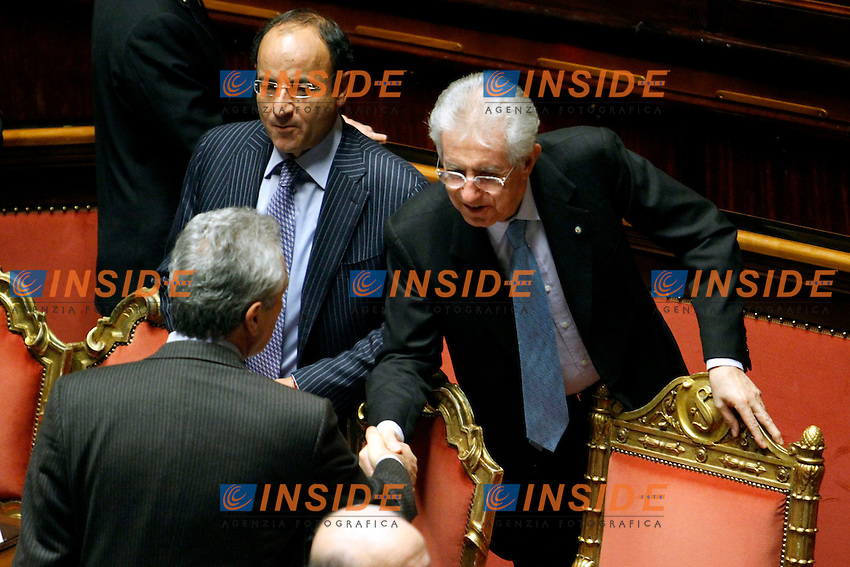 FRANCESCO RUTELLI E MARIO MONTI.Roma 22/12/2011 Senato. Voto di Fiducia sulla Manovra Economica.Votation at Senate about austerity plan. .Photo Samantha Zucchi Insidefoto