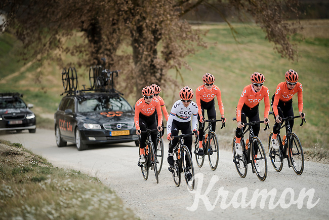 Team CCC-Liv (with Marianne Vos)<br /> <br /> race reconnaissance 1 day prior to the 13th Strade Bianche 2019 (1.UWT)<br /> <br /> ©kramon