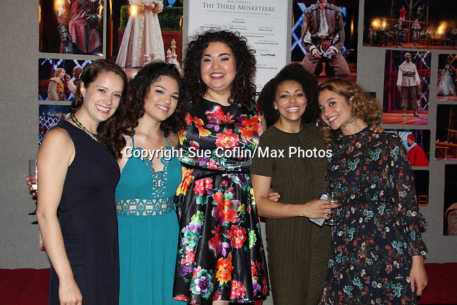 "Opening Night of Ken Ludwig's The Three Musketeers, an epic adventure at Pennsylvania Shakespeare Festival on July 14, 2017 starring As The World Turn's Marnie Schulenburg ""Queen Anne"", Victoria Scovens, Ilia Paulino, Kelsey Rainwater, Stella Baker (Photos by Sue Coflin/Max Photos)"