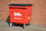 Red Biffa waste wheelie bin