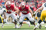 Wisconsin Badgers offensive linemen David Edwards (79) and Beau Benzschawel (66) during an NCAA College Big Ten Conference football game against the Iowa Hawkeyes Saturday, November 11, 2017, in Madison, Wis. The Badgers won 38-14. (Photo by David Stluka)