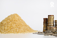 Rice and coins stacks side by side, studio (Licence this image exclusively with Getty: http://www.gettyimages.com/detail/82406661 )