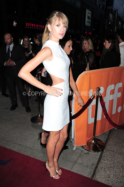 WWW.ACEPIXS.COM<br /> <br /> September 9 2013, Toronto<br /> <br /> Musician Taylor Swift arriving at the 'One Chance' Premiere during the 2013 Toronto International Film Festival at Winter Garden Theatre on September 9, 2013 in Toronto, Canada<br /> <br /> <br /> By Line: William Bernard/ACE Pictures<br /> <br /> <br /> ACE Pictures, Inc.<br /> tel: 646 769 0430<br /> Email: info@acepixs.com<br /> www.acepixs.com