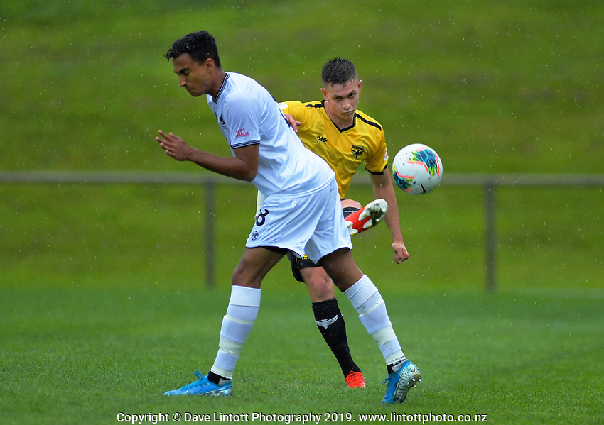 Action from the ISPS Handa Premiership football match between Wellington Phoenix Reserves and Hawkes Bay United at Porirua Park in Wellington, New Zealand on Sunday, 10 November 2019. Photo: Dave Lintott / lintottphoto.co.nz