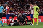 Atletico de Madrid's Joao Felix injured during La Liga match between Atletico de Madrid and Getafe CF at Wanda Metropolitano Stadium in Madrid, Spain. August 18, 2019. (ALTERPHOTOS/A. Perez Meca)
