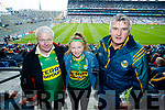 Harry Callaghan and Anne Marie Callaghan (Castleisland) with Jim Healy (Killarney), pictured at the Kerry v Mayo all Ireland semi-final in Croke Park, on Sunday last.