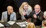 LOUISVILLE, KENTUCKY - APRIL 30: Jockey Mike Smith, Andrea Mandella and Richard Mandella at the Post Position Draw for the 145th Kentucky Derby at Churchill Downs in Louisville, Kentucky on April 30, 2019. Scott Serio/Eclipse Sportswire/CSM
