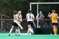 STANFORD, CA - September 19, 2010:  Courtney Haldeman and Katherine Swank (16) celebrate during the Stanford Field Hockey game against Cal in Stanford, California. Stanford lost 2-1.