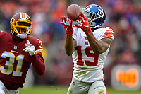 Landover, MD - December 9, 2018: New York Giants wide receiver Corey Coleman (19) beats Washington Redskins cornerback Fabian Moreau (31) for a touchdown during game between the New York Giants and Washington Redskins at FedEx Field in Landover, MD. The Giants defeated the Redskins 40-16 dropping the Redskins to 6-7 on the season. (Photo by Phillip Peters/Media Images International)