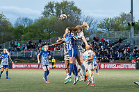 Boston, MA - Sunday May 07, 2017: Morgan Andrews and Samantha Mewis during a regular season National Women's Soccer League (NWSL) match between the Boston Breakers and the North Carolina Courage at Jordan Field.