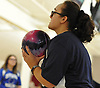 Samantha Jennings of MacArthur gets ready to roll during a Nassau County girls bowling match against Levittown Division at Levittown Lanes on Wednesday, Jan. 3, 2018.
