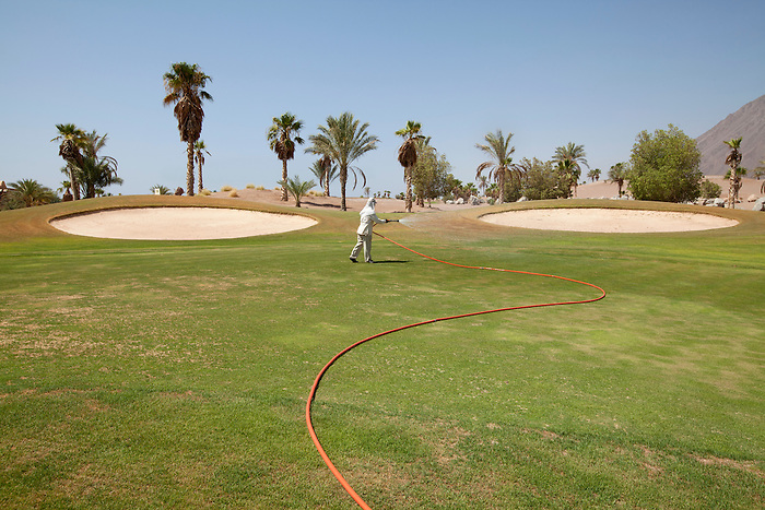 "Taba Heights, Sinai, July 2014. In the ""Taba Heights"", most of the hotel chains share a golf course. Of which only one area is looked after while the rest of the course has been destroyed by the floods."