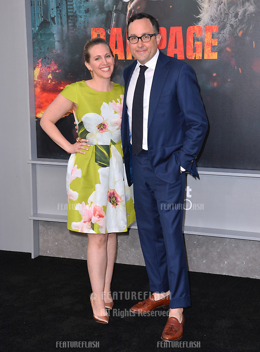 P.J. Byrne &amp; Jaime Nicole Padula at the premiere for &quot;Rampage&quot; at the Microsoft Theatre, Los Angeles, USA 04 April 2018<br /> Picture: Paul Smith/Featureflash/SilverHub 0208 004 5359 sales@silverhubmedia.com