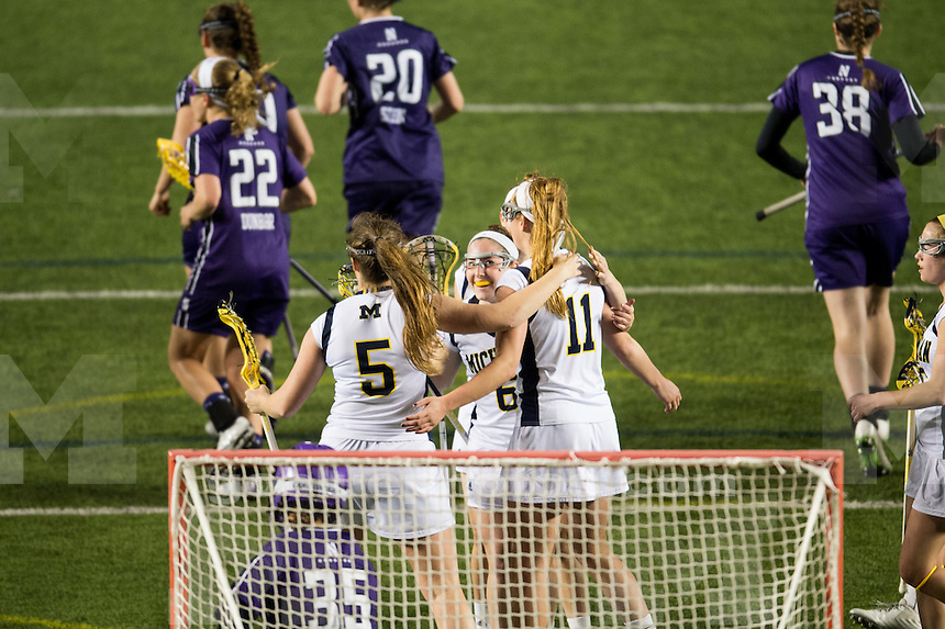 The University of Michigan women's lacrosse team falls to Northwestern, 17-8, at Michigan Stadium in Ann Arbor, Mich. on April 2, 2015.