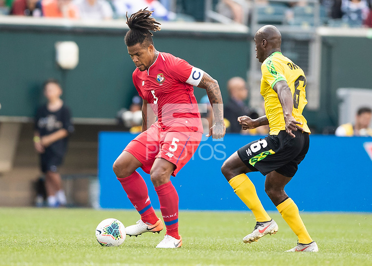 PHILADELPHIA, PA - JUNE 30: Roman Torres #5, Dever Orgill #6 during a game between Panama and Jamaica at Lincoln Financial Field on June 30, 2019 in Philadelphia, Pennsylvania.