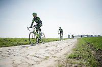 Jack Bauer (NZL/Cannondale-Garmin) &amp; his Team Cannondale-Garmin teammates at the Templeuve (Moulin-de-Vertain) sector<br /> <br /> 2015 Paris-Roubaix recon