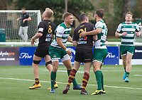 Ealing Trailfinders players celebrate a try during the RFU Championship Cup match between Ealing Trailfinders and Ampthill RUFC at Castle Bar , West Ealing , England  on 28 September 2019. Photo by Alan  Stanford / PRiME Media Images