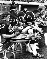 Oakland Raiders Dave Casper, Art Shell, Gene Upshaw,John Vella and George Beuhler..(1974 photo/Ron Riesterer)