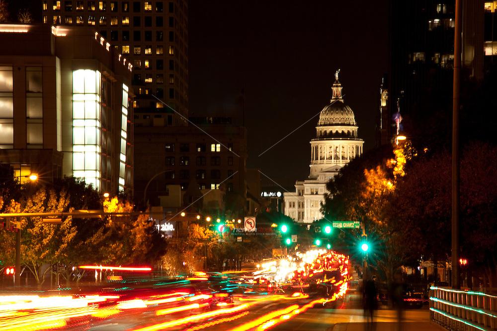 Car lights trails on Congress Avenue in Austin, Texas