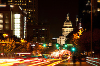 Car lights trails on Congress Avenue in Austin, Texas