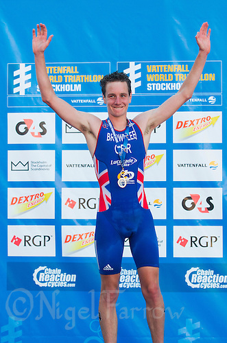 25 AUG 2013 - STOCKHOLM, SWE - Alistair Brownlee (GBR) of Great Britain celebrates taking the lead of the ITU 2013 World Triathlon Series after winning the race in Gamla Stan, Stockholm, Sweden (PHOTO COPYRIGHT © 2013 NIGEL FARROW, ALL RIGHTS RESERVED)
