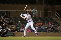 Salt River Rafters first baseman Tyler Nevin (2), of the Colorado Rockies organization, at bat in front of catcher Matt Winn (16) and home plate umpire Nestor Ceja during an Arizona Fall League game against the Scottsdale Scorpions at Salt River Fields at Talking Stick on October 11, 2018 in Scottsdale, Arizona. Salt River defeated Scottsdale 7-6. (Zachary Lucy/Four Seam Images)