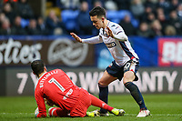 Bolton Wanderers' Zach Clough puts Fulham's goalkeeper Marcus Bettinelli under pressure<br /> <br /> Photographer Andrew Kearns/CameraSport<br /> <br /> The EFL Sky Bet Championship - Bolton Wanderers v Fulham - Saturday 10th February 2018 - Macron Stadium - Bolton<br /> <br /> World Copyright &copy; 2018 CameraSport. All rights reserved. 43 Linden Ave. Countesthorpe. Leicester. England. LE8 5PG - Tel: +44 (0) 116 277 4147 - admin@camerasport.com - www.camerasport.com