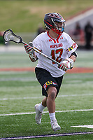 College Park, MD - April 1, 2017: Maryland Terrapins Jon Garino (12) in action during game between Michigan and Maryland at  Capital One Field at Maryland Stadium in College Park, MD.  (Photo by Elliott Brown/Media Images International)